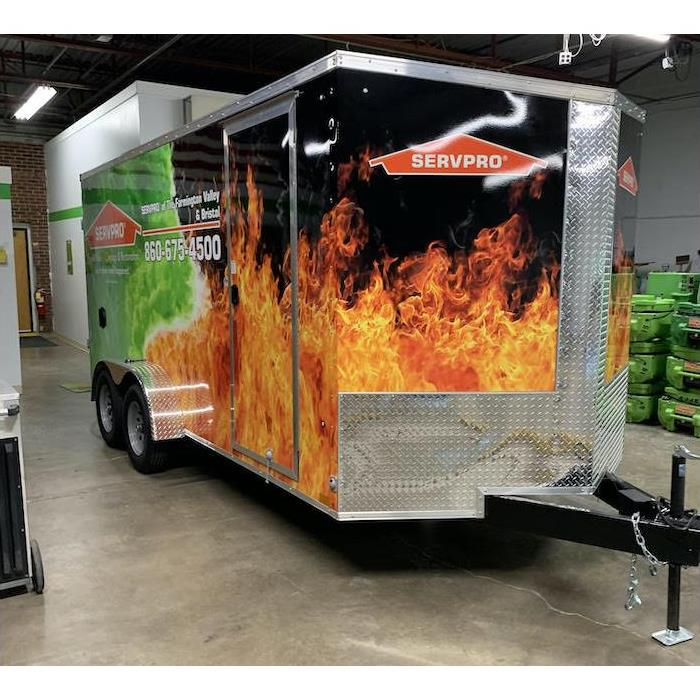 SERVPRO silver trailer in a warehouse